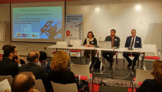 Juan José Iglesias, de GREFA, explica las principales acciones contra el impacto de los tendidos eléctricos en las aves desarrolladas desde el proyecto AQUILA a-LIFE, en el taller convocado por la Plataforma SOS Tendidos Eléctricos.