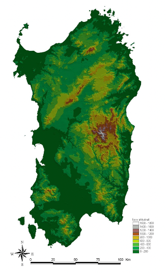 Fig. 1. Digital model of Sardinia, with altitudinal ranges.